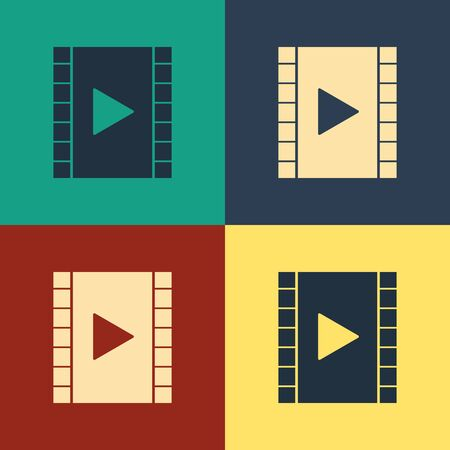 Color Play Video icon isolated on color background. Film strip with play sign. Vintage style drawing. Vector Illustration