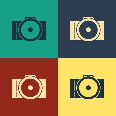 Color Photo camera icon isolated on color background. Foto camera icon. Vintage style drawing. Vector Illustration