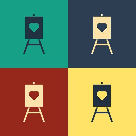 Color Wood easel or painting art boards with heart icon isolated on color background. Vintage style drawing. Vector Illustration