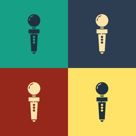 Color Joystick for arcade machine icon isolated on color background. Joystick gamepad. Vintage style drawing. Vector Illustration Illustration