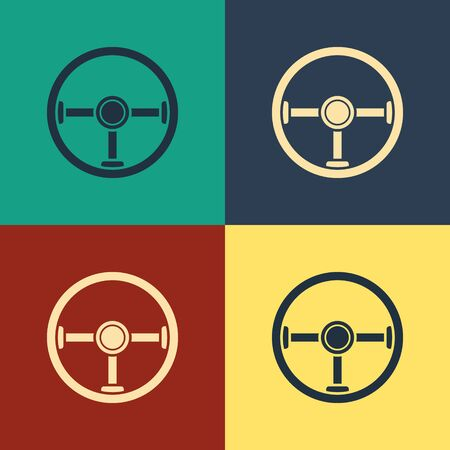 Color Steering wheel icon isolated on color background. Car wheel icon. Vintage style drawing. Vector Illustration