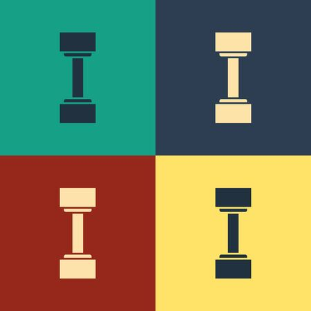Color Dumbbell icon isolated on color background. Muscle lifting icon, fitness barbell, gym icon, sports equipment symbol, exercise bumbbell. Vintage style drawing. Vector Illustration Illustration
