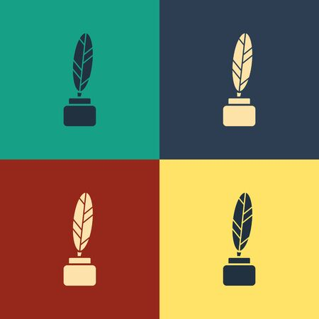 Color Feather and inkwell icon isolated on color background. Vintage style drawing. Vector Illustration