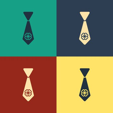 Color Tie with four leaf clover icon isolated on color background. Necktie and neckcloth symbol. Happy Saint Patricks day. Vintage style drawing. Vector Illustration Illustration