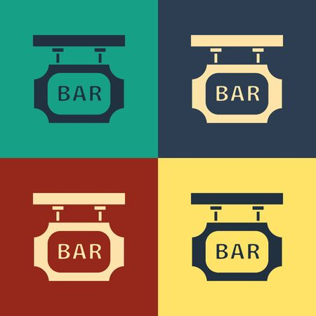 Color Street signboard with inscription Bar icon isolated on color background. Suitable for advertisements bar, cafe, pub, restaurant. Vintage style drawing. Vector Illustration Standard-Bild - 134743153