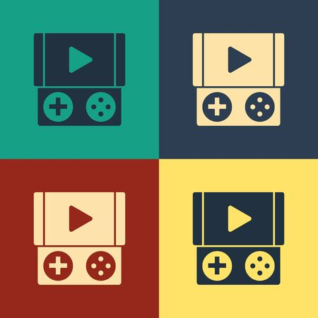 Color Portable video game console icon isolated on color background. Gamepad sign. Gaming concept. Vintage style drawing. Vector Illustration Stock Vector - 134738264