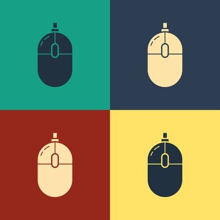 Color Computer mouse icon isolated on color background. Optical with wheel symbol. Vintage style drawing. Vector Illustration Illustration