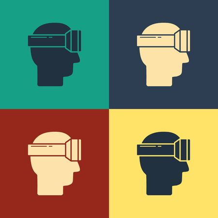 Color Virtual reality glasses icon isolated on color background. Stereoscopic 3d vr mask. Vintage style drawing. Vector Illustration