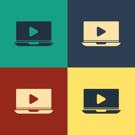 Color Online play video icon isolated on color background. Laptop and film strip with play sign. Vintage style drawing. Vector Illustration Illusztráció