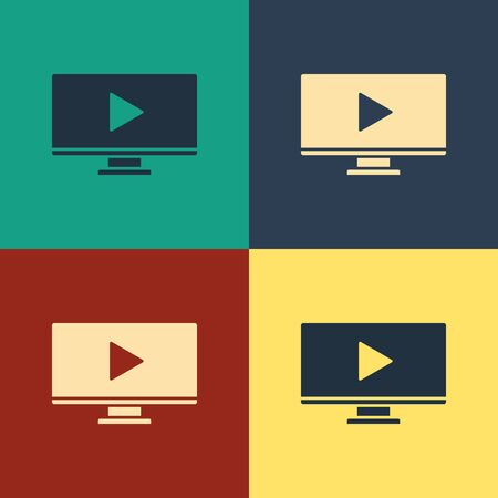 Color Online play video icon isolated on color background. Computer monitor and film strip with play sign. Vintage style drawing. Vector Illustration