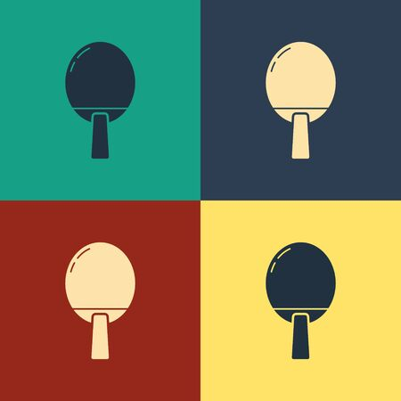 Color Racket for playing table tennis icon isolated on color background. Vintage style drawing. Vector Illustration