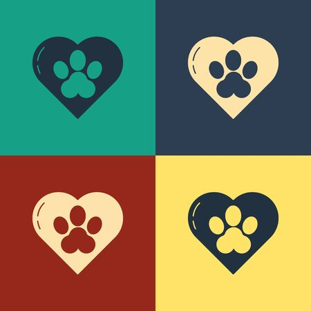Color Heart with animals footprint icon isolated on color background. Pet paw in heart. Love to the animals. Vintage style drawing. Vector Illustration
