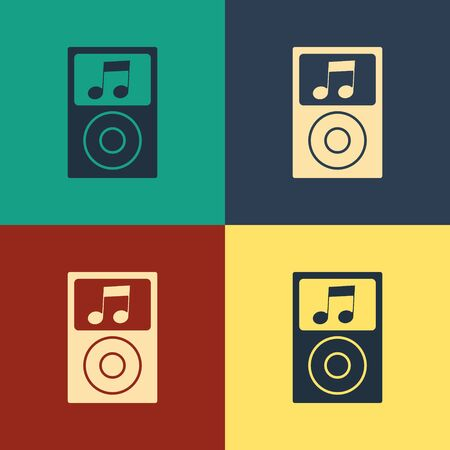 Color Music player icon isolated on color background. Portable music device. Vintage style drawing. Vector Illustration Stock Vector - 134743199