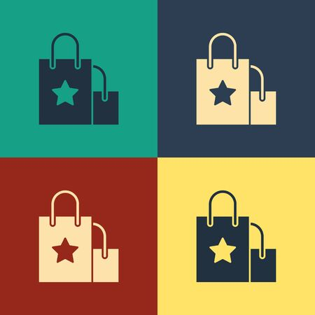 Color Paper shopping bag icon isolated on color background. Package sign. Vintage style drawing. Vector Illustration