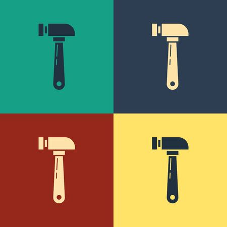Color Hammer icon isolated on color background. Tool for repair. Vintage style drawing. Vector Illustration Çizim