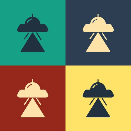Color UFO flying spaceship icon isolated on color background. Flying saucer. Alien space ship. Futuristic unknown flying object. Vintage style drawing. Vector Illustration Ilustrace