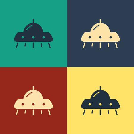 Color UFO flying spaceship icon isolated on color background. Flying saucer. Alien space ship. Futuristic unknown flying object. Vintage style drawing. Vector Illustration 向量圖像