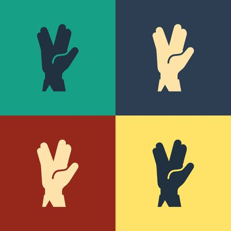 Color Vulcan salute icon isolated on color background. Hand with vulcan greet. Spock symbol. Vintage style drawing. Vector Illustration Vectores