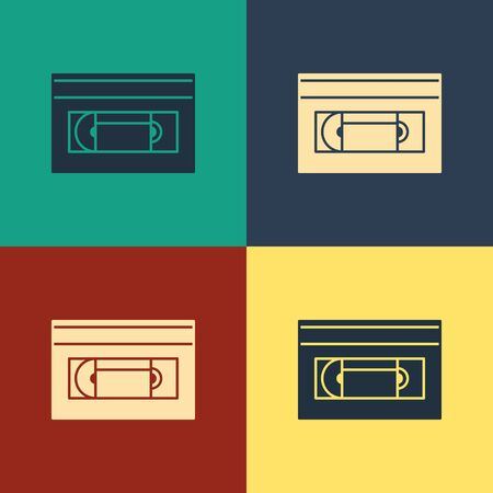Color VHS video cassette tape icon isolated on color background. Vintage style drawing. Vector Illustration