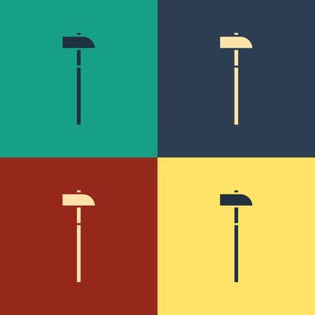 Farbe Hammer-Symbol auf farbigem Hintergrund isoliert. Werkzeug zur Reparatur. Zeichnung im Vintage-Stil. Vektorillustration
