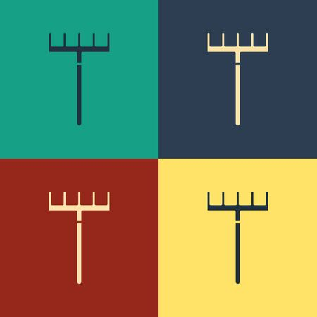 Color Garden rake icon isolated on color background. Tool for horticulture, agriculture, farming. Ground cultivator. Housekeeping equipment. Vintage style drawing. Vector Illustration Çizim