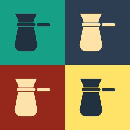Color Coffee turk icon isolated on color background. Vintage style drawing. Vector Illustration Çizim