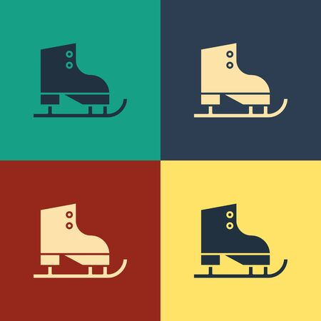 Color Figure skates icon isolated on color background. Ice skate shoes icon. Sport boots with blades. Vintage style drawing. Vector Illustration Illustration