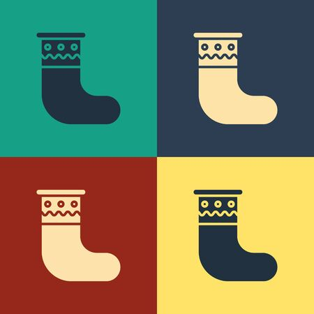 Color Christmas stocking icon isolated on color background. Merry Christmas and Happy New Year. Vintage style drawing. Vector Illustration Ilustração