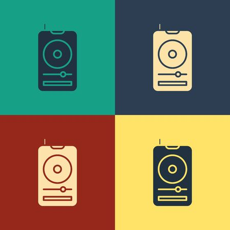 Color Music player icon isolated on color background. Portable music device. Vintage style drawing. Vector Illustration