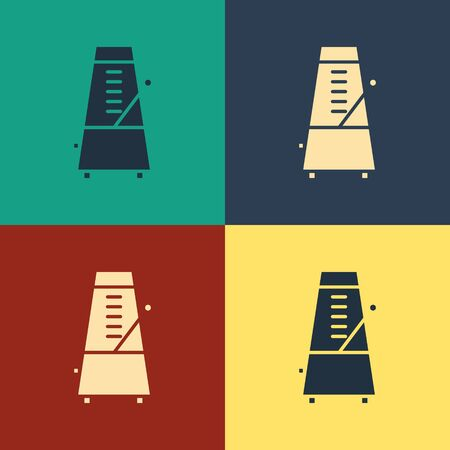Color Classic Metronome with pendulum in motion icon isolated on color background. Equipment of music and beat mechanism. Vintage style drawing. Vector Illustration