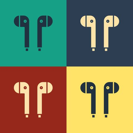 Color Air headphones icon icon isolated on color background. Holder wireless in case earphones garniture electronic gadget. Vintage style drawing. Vector Illustration Çizim