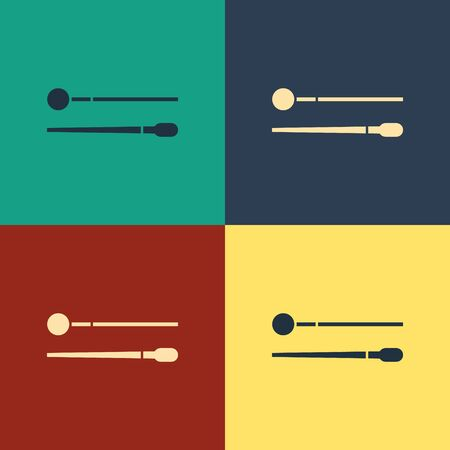 Color Drum sticks icon isolated on color background. Musical instrument. Vintage style drawing. Vector Illustration
