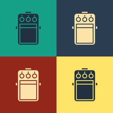 Color Guitar pedal icon isolated on color background. Musical equipment. Vintage style drawing. Vector Illustration