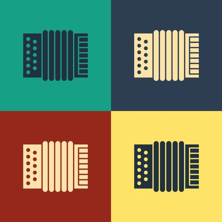 Color Musical instrument accordion icon isolated on color background. Classical bayan, harmonic. Vintage style drawing. Vector Illustration Foto de archivo - 134739187