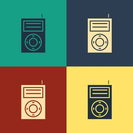 Color Music MP3 player icon isolated on color background. Portable music device. Vintage style drawing. Vector Illustration Stock Vector - 134739191