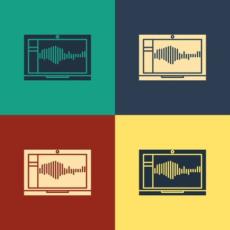 Color Sound or audio recorder or editor software on laptop icon isolated on color background. Vintage style drawing. Vector Illustration
