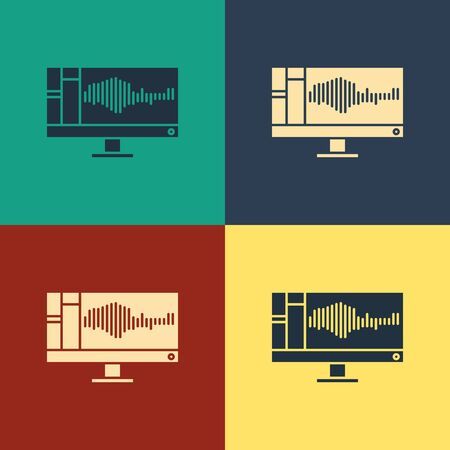 Color Sound or audio recorder or editor software on computer monitor icon isolated on color background. Vintage style drawing. Vector Illustration