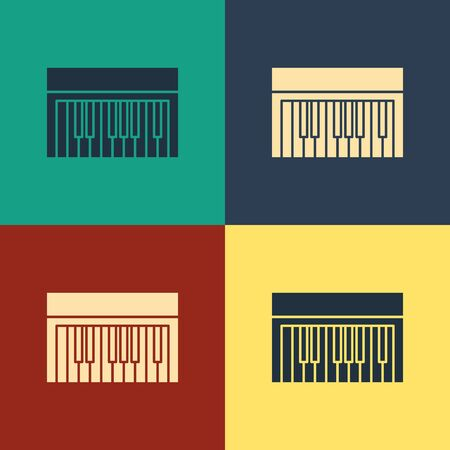 Color Music synthesizer icon isolated on color background. Electronic piano. Vintage style drawing. Vector Illustration Foto de archivo - 134738868