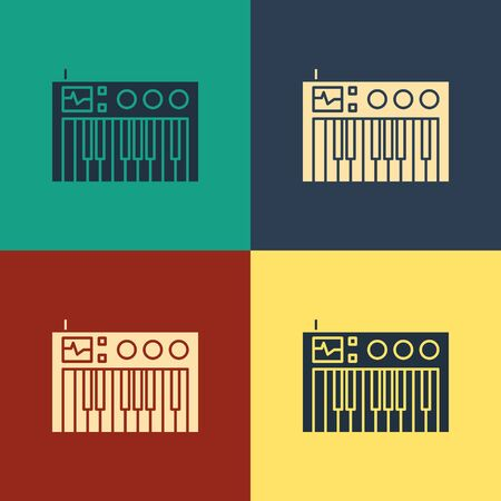 Color Music synthesizer icon isolated on color background. Electronic piano. Vintage style drawing. Vector Illustration Foto de archivo - 134738867