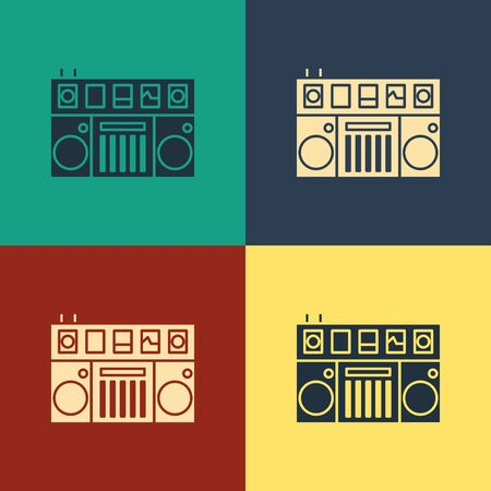 Color DJ remote for playing and mixing music icon isolated on color background. DJ mixer complete with vinyl player and remote control. Vintage style drawing. Vector Illustration 向量圖像