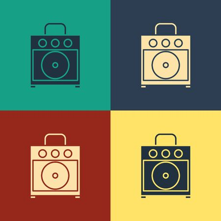Color Guitar amplifier icon isolated on color background. Musical instrument. Vintage style drawing. Vector Illustration