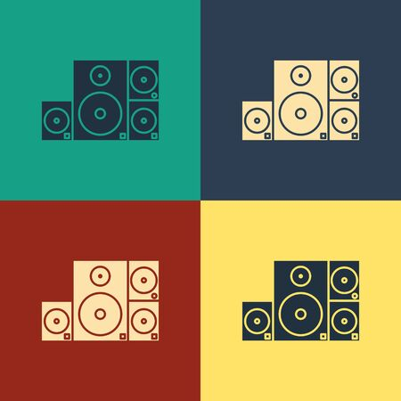 Color Stereo speaker icon isolated on color background. Sound system speakers. Music icon. Musical column speaker bass equipment. Vintage style drawing. Vector Illustration