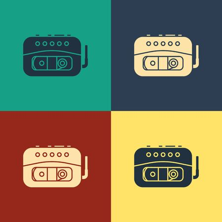 Color Music tape player icon isolated on color background. Portable music device. Vintage style drawing. Vector Illustration