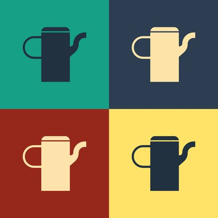 Color Watering can icon isolated on color background. Irrigation symbol. Vintage style drawing. Vector Illustration