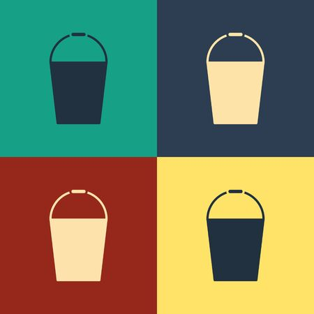 Color Bucket icon isolated on color background. Vintage style drawing. Vector Illustration Çizim