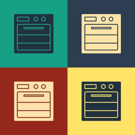 Color Oven icon isolated on color background. Stove gas oven sign. Vintage style drawing. Vector Illustration
