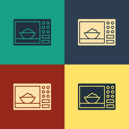 Color Microwave oven icon isolated on color background. Home appliances icon. Vintage style drawing. Vector Illustration