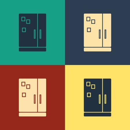 Color Refrigerator icon isolated on color background. Fridge freezer refrigerator. Household tech and appliances. Vintage style drawing. Vector Illustration Ilustração
