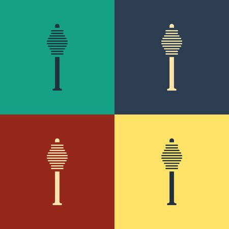 Color Honey dipper stick icon isolated on color background. Honey ladle. Vintage style drawing. Vector Illustration Иллюстрация