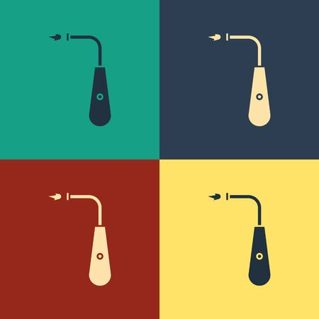 Color Long electric lighter icon isolated on color background. Vintage style drawing. Vector Illustration Foto de archivo - 134739432